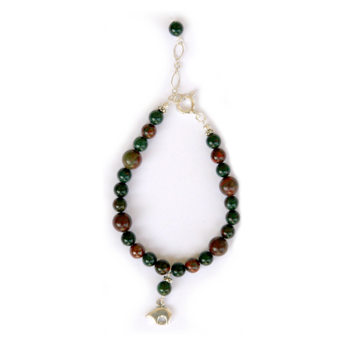 Bear spirit totem bracelet made with bloodstone and red jasper for harmonious circulation and cleansing of the blood
