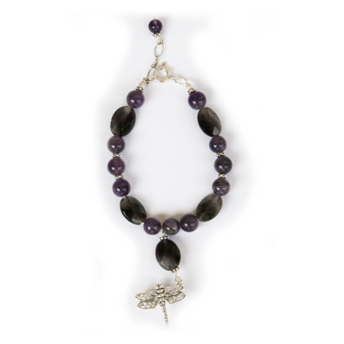 Dragonfly spirit totem bracelet made with amethyst to aid in meditation and psychic development