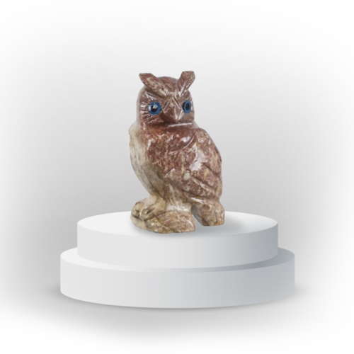 Owl animal totem in dolomite, and made in Peru, symbolizing wisdom and protection.